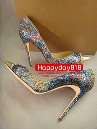 Wholesale Rhinestone Studded Dresses - Free shipping fashion women pumps Blue studded spikes glitter point toe high heels thin heel shoes genuine leather 120mm 100mm real photo