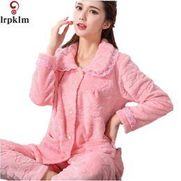 Wholesale Thick Nightgown - Wholesale-2017 Flannel Fleece Winter Women Pajama Sets sleepwear Thick and comfortable Women Feminino home Mujer Entero Pyjamas SY233