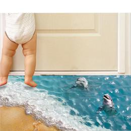 papel fotográfico em fibra Desconto 3D Dolphin Andar Adesivos Bonito Mar Adesivo De Parede Bonito À Prova D 'Água PVC Adesivo de Parede Do Banheiro Adesivo de Parede Crianças Eco-friendly