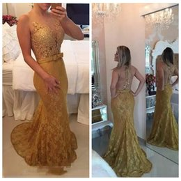 bow picture lady Promo Codes - Sheer O-Neck Gold Lace Mermaid Prom Dresses 2019 Slim With Bow Waist Sweep Train Ladies Evening Party Gowns Beaded Customized Cheap