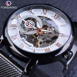 2019 forsining orologi da polso Forsining orologio meccanico da uomo moda casual openwork orologio da polso cassa trasparente orologio da uomo nero gancio in acciaio inox buck sconti forsining orologi da polso