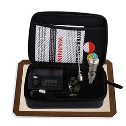 Temperatura dell'olio online-Portable titanium enail Elettrico limanda unghie PID temperatura di controllo e chiodo kit di lumaca vaporizzatore di cera 16mm 20mm olio rig bong di vetro