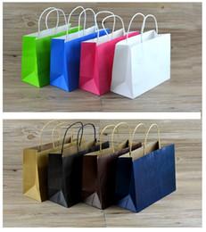 Cadeaux sacs en papier grand en Ligne-(Imprimer logo MOQ 300pcs) 10pcs / lot Grand sac en papier cadeau de taille avec poignée