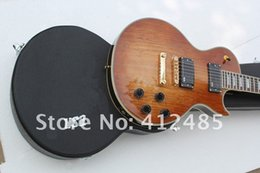 Wholesale tuning keys for electric guitars - Wholesale Les CUSTOM Signature solid wood brown Electric Guitar with golden tuning keys Guitar EMG pickup with case
