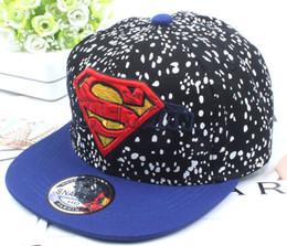 Superman chapéu preto on-line-Traje de superman dos miúdos Chapéu bordado Boné de beisebol preto azul Chapéu super da boina dos desenhos animados do chapéu das crianças