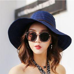 Wholesale Women Summer Anti Uv Hat - New Summer Beach Bow Hats for Women Wide Brim Cotton Linen Chapeu Panama Feminino Lady Foldable Bucket Hat Anti-UV Sun Cap