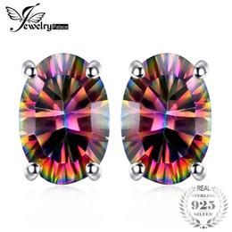 2019 fil étoile rouge JewelryPalace 7x5mm Ovale Cut 1.5ct Fire Rainbow Mystic Topaze Boucles D'oreilles Goujons Solide 925 Sterling Argent Femmes Vintage Mode