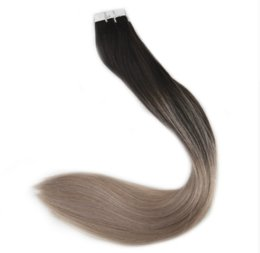 Wholesale Blonde Glue Hair Extensions - Ombre Tape in Hair Extensions Human Hair Remy Colored Extensions #1B Fading to #18 Ash Blonde Glue 40 Pcs 100 Grams Per Package