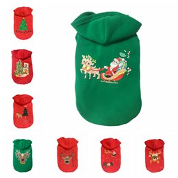 Wholesale extra large dog costumes - 8 Styles Christmas Dog Custome Animal Pattern Santa Claus Cloth Winter Cotton Dog Coat Sweater for Pets NNA399