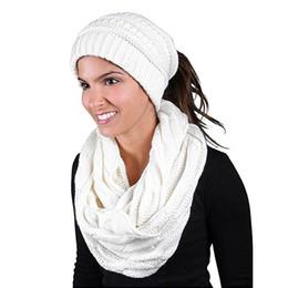 Sciarpa infinita morbida online-2018 Fashion Winter Ladies Scarf Morbido Uomo Maglia Infinity Sciarpa Beanie Hat Set Inverno Caldo Sciarpe Cappelli Set Sciarpe Scialle