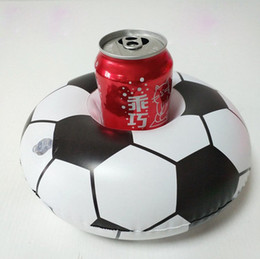 Wholesale Soft Football Toy - Inflatable Football Drink Cup Holder Send Inflator Summer Hot Sale Soccer Ball Cup Seat Inflatable Beach Pool Float Coaster Toys