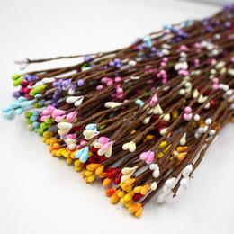 Braccialetto floreale online-100pcs 40cm fiori artificiali bacche stelo per canne braccialetto corona composizione floreale artigianato decorazione materiale corona fai da te
