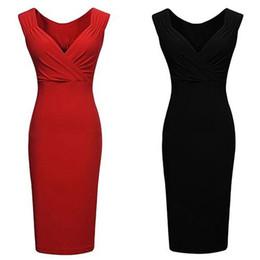 Women s Sexy V-neck Low-cut Sleeveless Bodycon Knee-length Vest Pencil Dress 172be6994