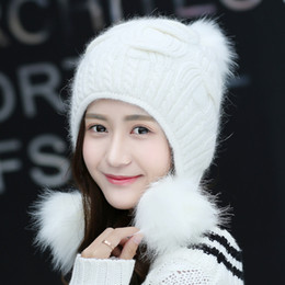 d4ce80b5af0ff Women Winter Cute Knitted Beanie Hat Woolen Faux Fur Thick Ball Pom Poms  Earflap Crochet Warm Soft Fashion Outdoor Hats Gifts earflap hat balls  outlet
