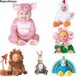 Costumi carino di maiale online-2018 New Fashion Baby Halloween Pagliaccetti Simpatico animale Cosplay Ragazzi Tute Rosa Maiale Ragazze Forma Baby Costumi Infantile Vestiti