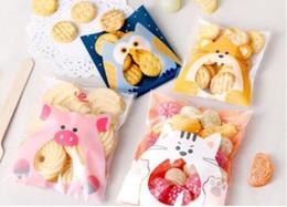 Bolsa de regalo de plástico de galletas online-Cute Animals Candy Cake Biscuits Cookies Packaging Bags Self-adhesive Plastic Gifts Bolsas Party Birthday Snack Baking GA16