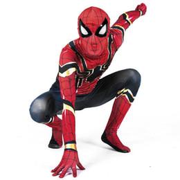 Blousons enfants spiderman en Ligne-2018 Halloween Comic Spiderman Costume Rouge Noir Spider homme Anime Cosplay Enfants Vêtements Ensemble Halloween Costume pour Garçons Enfants Veste Pantalon