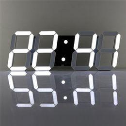 Wholesale large digital clock calendar - Charminer White Large 3D Acrylic Digital LED Skeleton Wall Clock Timer 24 12 Hour Display Home Decor Modern Design