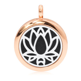 Wholesale Magnetic Oil - Rose Gold Color Lotus Flower 25mm Magnetic Essentional oil Perfume Aromatherapy Diffuser Locket Pendant Hang Charms Locket Jewelry Making