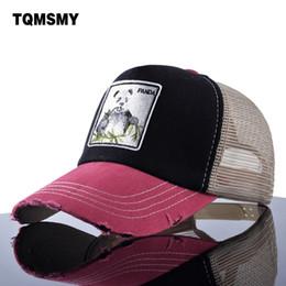 Cappello di panda estivo online-TQMSMY Unisex cappelli da sole per uomo Hip Hop Hat Mesh traspirante Berretti da baseball Donna Ricamo panda Snapback tappi Estate Gorras