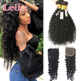 Wholesale deep wave closure bundles - Virgin Hair Deep Wave 4 Bundles with Lace Closure Malaysian 100% Unprocessed Human Hair Weft curly Full Hair