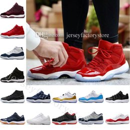 Wholesale Real Low Cheap - Cheap New 11 GYM RED Bred CHICAGO ORGINALS QUALITY 11S XI REAL MEN BASKETBALL SHOES OUTDOOR SNEAKERS WITH BOX Low Varsity Red GS Heiress