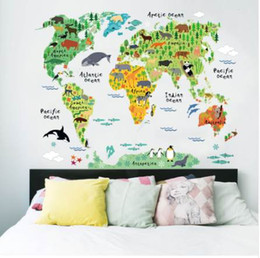 Wholesale Map Wall Art Diy - ISABEL WORLD animal world map wall stickers for kids rooms living room home decorations decal mural art diy office wall art