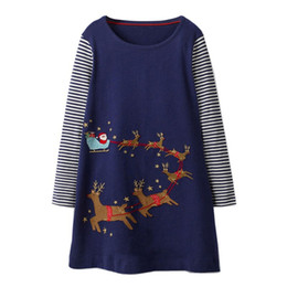Ropa para la fiesta de navidad casual online-Vestido de princesa Otoño Ropa de niña bebé Fiesta de unicornio Algodón Niños Caballo Vestidos de manga larga Navidad Aplique Robe Fille