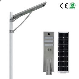Wholesale led solar panel lights - PIR motion Sensor 50W Integrated Led Solar Street Light Waterproof LED Road Light Light Sensor Mono Solar Panel Outdoor Lamp