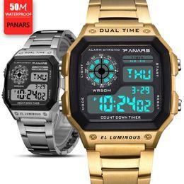 Montre mens numérique imperméable à l'eau d'acier inoxydable en Ligne-Prevail Mens Montres Relojes Deportivos Sports Watch 50m étanche en acier inoxydable Fashion Gold Digital montres-bracelets mâle horloge