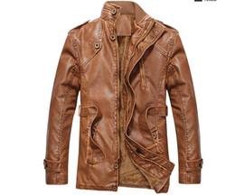 Chaqueta de cuero marrón estilo para hombre. online-Chaquetas de cuero estilo inglés con cinturón Abrigo de cuero clásico de los hombres Causal Parka Hombres Moto Biker Jacket Marrón