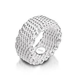 оптовые кольца стерлингового серебра Скидка Новая мода 9 мм широкое серебряное кольцо. Женщины твердые стерлингового серебра 925 кольцо плетеные сетки кольцо. Персонализированные ювелирные изделия оптом