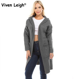 491ab5b679 Fashion Hooded Long Cardigan Sweaters with Pockets Women Autumn Winter  Casual Knit Loose Jumper Outwear Oversize Cardigan Coat