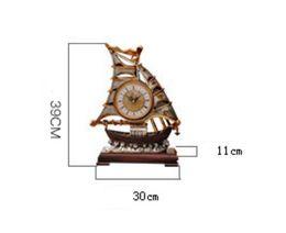 Wholesale Vintage Metal Tables - Decorative Retro Table Desktop Clocks Living Room Bedroom Sailing Boats Vintage Clock Nostalgic Ornaments Table Desktop Watches