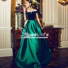 Wholesale Cheap Empire Line Tops - Forest Green Fashion 2018 A Line Prom Dresses Bateau Velvet Top Empire Velvet Elastic Satin Cheap Formal Prom Gown Women Evening Dresses