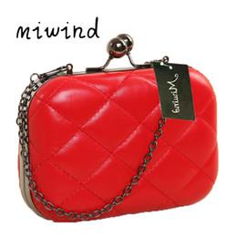 afe6e7eae28f 2019 красный сатинированный мешок MIWIND атласная клатч вечерняя сумка  алмазы клатчи красный плед сумка для свадьбы