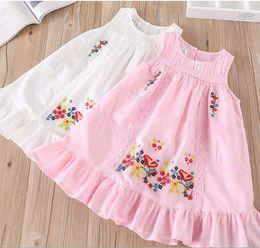 Wholesale Blossom Blends - Summer girls lace hollow princess dress children plum blossom embroidery falbala dress kids ruffle round collar vest dress pink white Y0168