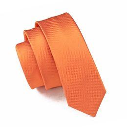 Wholesale narrow tie width - 2017 Fashion 100% Silk Jacquard Woven Tie Orange Solid Skinny Narrow Gravata Necktie Ties For men 6cm width Casual E-059