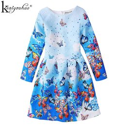 Wholesale Girls Dressess - Girls Dress Long Sleeve Spring Girls Clothes Children Printing Butterfly Dressess For Girls Kids Clothing 5 6 7 8 9 10 11 Years