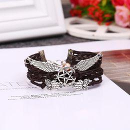 braccialetto pentagramma Sconti Pentagram Women Rope Owl for Bracelet Alloy Men Wing