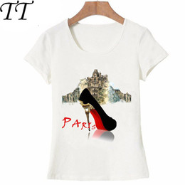 Moda Paris Camiseta I Love A Simple Paris Red Shoes Acuarela Design Party Mujeres Camiseta Vintage Casual Tops Hipster Tees desde fabricantes
