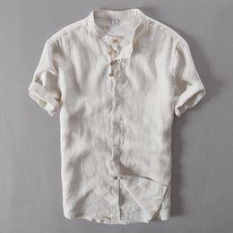 Marcas de camisetas de china online-Camisa casual de manga larga de lino puro para hombres Camisa con cuello en chino 100% camisas de lino Hombres Camisa de moda para hombre Camisa de verano Camisa social