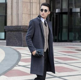 Wholesale Casaco Inverno Masculino - Grey casual woolen coat men trench coats no button overcoat mens cashmere coat casaco masculino inverno erkek england S - 9XL
