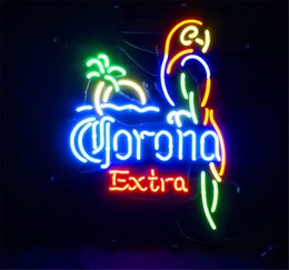 neon beer signs Promo Codes - New Star Neon Sign Factory 17X14 Inches Real Glass Neon Sign Light for Beer Bar Pub Garage Room Corona Extra.