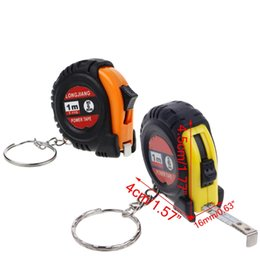 Wholesale Measuring Tape Key Chain - OOTDTY Plastic+Steel Lightweight Retractable Ruler Tape Measure Key Chain Mini Pocket Size Metric 1m Keyring Design