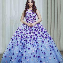 elfenbein farbe nacktes kleid Rabatt Wunderschöne 3D-Blütenblätter Abendkleider Jewel Neck Sleeveless Tüll Ballkleid Partykleid Atemberaubende Saudi-Arabien Celebrity Abendkleider