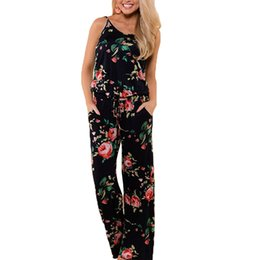 7d952edad8d9 Summer Jumpsuit Women 2018 Fashion Sleeveless Strap Sexy Overalls Rompers  Female Boho Style Floral Print Jumpsuits Plus Size