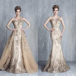 Wholesale Pink Tony - Champagne Gold Plunging Necklines Evening Dresses 2018 Tony Chaaya Illusion Bateau Mermaid Over Skirts with Applique Beads Lace Prom Dresses