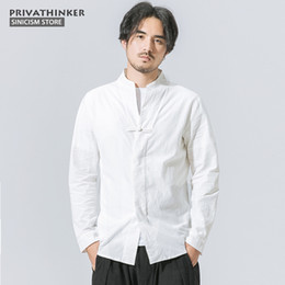 06b2b435ca8b Sinicism Store Plus Size Cotton Linen Shirts Men Long Sleeve Shirts Chinese  Traditional Cloths Frog Button Male Autumn