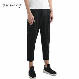 Wholesale Japanese Linen Fashion - 2017 Summer Casual Dress Fashion Straight Cool Mens Black Pants Joggers Japanese Leisure Trousers Hot Drawstring Linen Pants Men